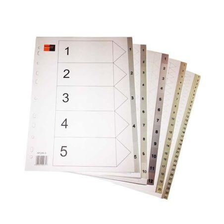 Black Red PVC Dividers A4 5, 10, 12, 20, 31 tabs|armenius.com.cy
