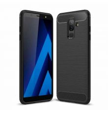 Samsung A6 Plus Silicon Carbon Case Black|armenius.com.cy