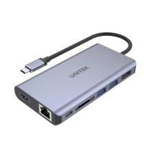 Unitek D1056A Type-C 3.1 HDMI/DP/RJ45/SD/PD100W Hub Space Grey| Armenius Store