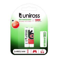 Uniross AAA 1000 Hybrio Rechargeable Batteries 2Pcs|armenius.com.cy