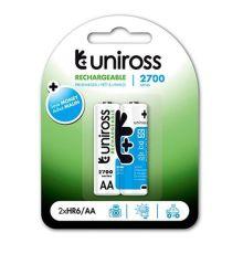 Uniross AA 2700 NiMH Rechargable Batteries 2 Pcs|armenius.com.cy