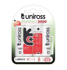 Uniross D 3000 Hybrio Rechargable Batteries 2 Pcs  Armenius Store