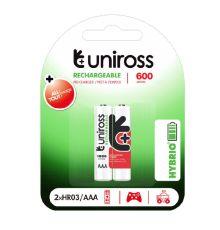 Uniross AAA 600 Hybrio Rechargable Batteries 2 Pcs|armenius.com.cy